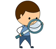 boy looking in magnifying glass