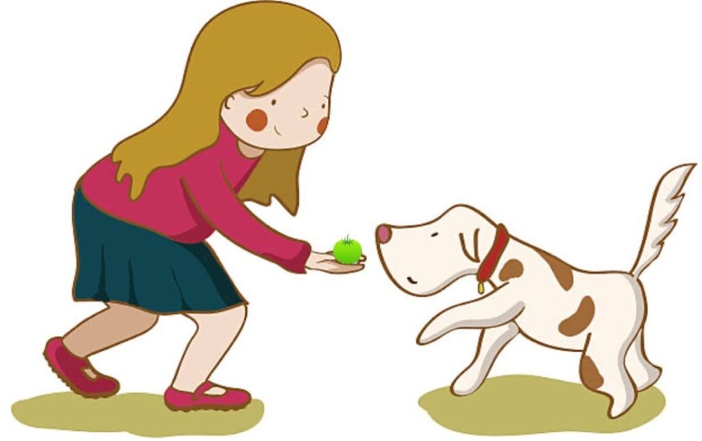 Cartoon of girl feeding a dog a green tomato.
