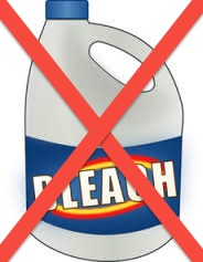 Bottle of bleach with an X through it.