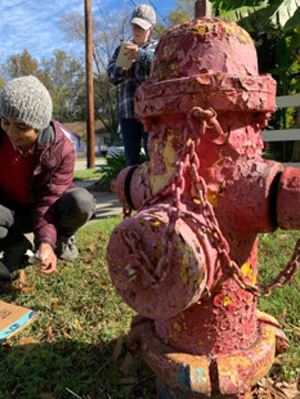 Fire hydrant with flaking paint