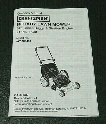 Lawnmower owner's manual.