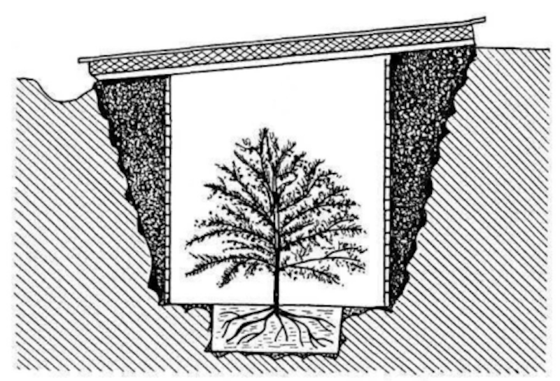 Drawing of a trench showing its winter insulation.