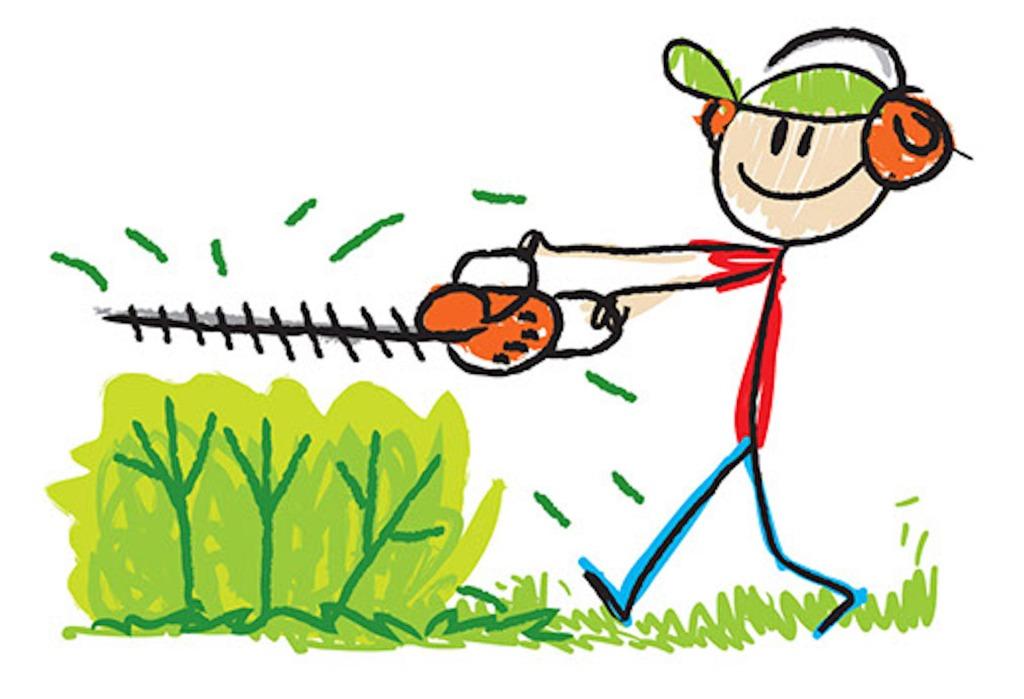 Cartoon of man pruning shrub.