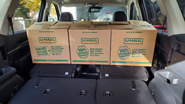 Boxes inside an SUV