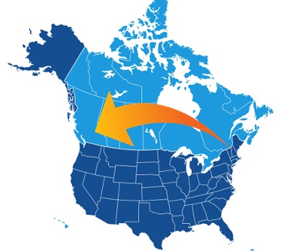 North American map with an orange arrow represent a long-distance move.