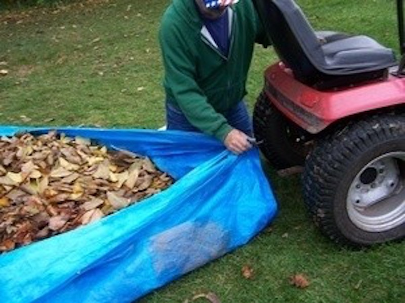 Lawn tractor pulling tarp full of leaves.