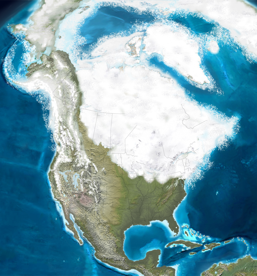 Map showing extent of last ice age in North America.