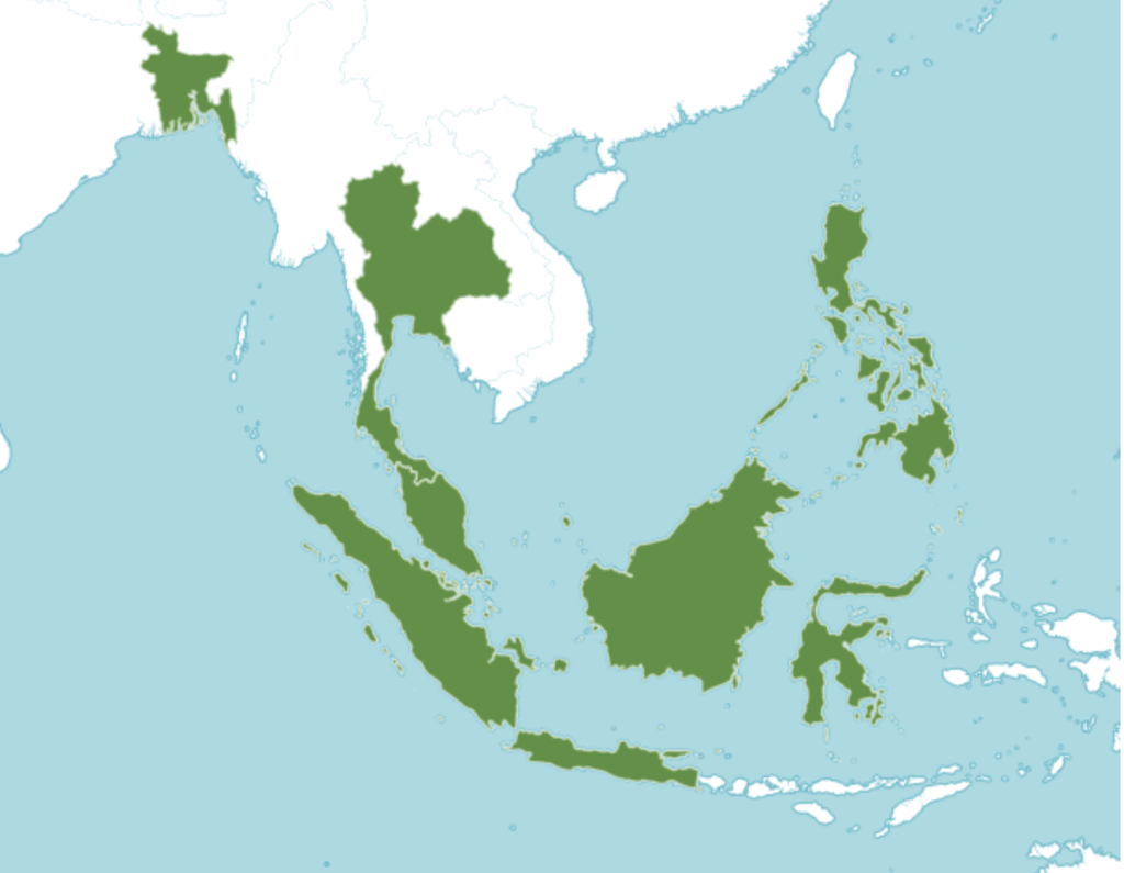map of distribution of Scindapsus pictus in Southeast Asia