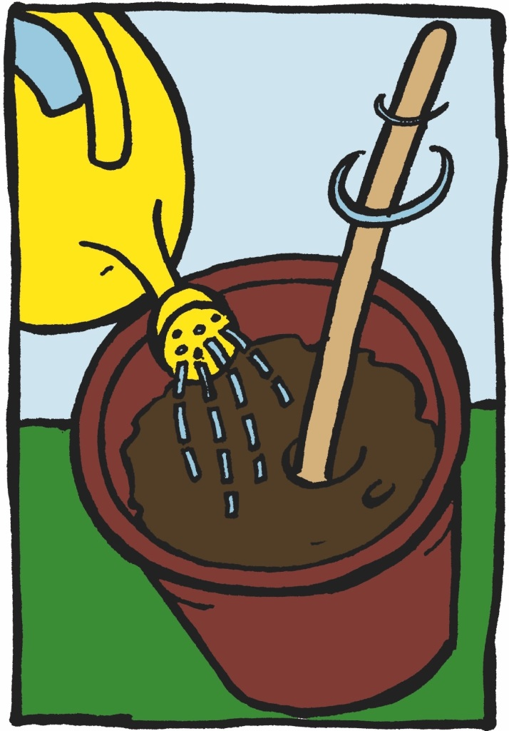 Mixing soil and water in a pail.