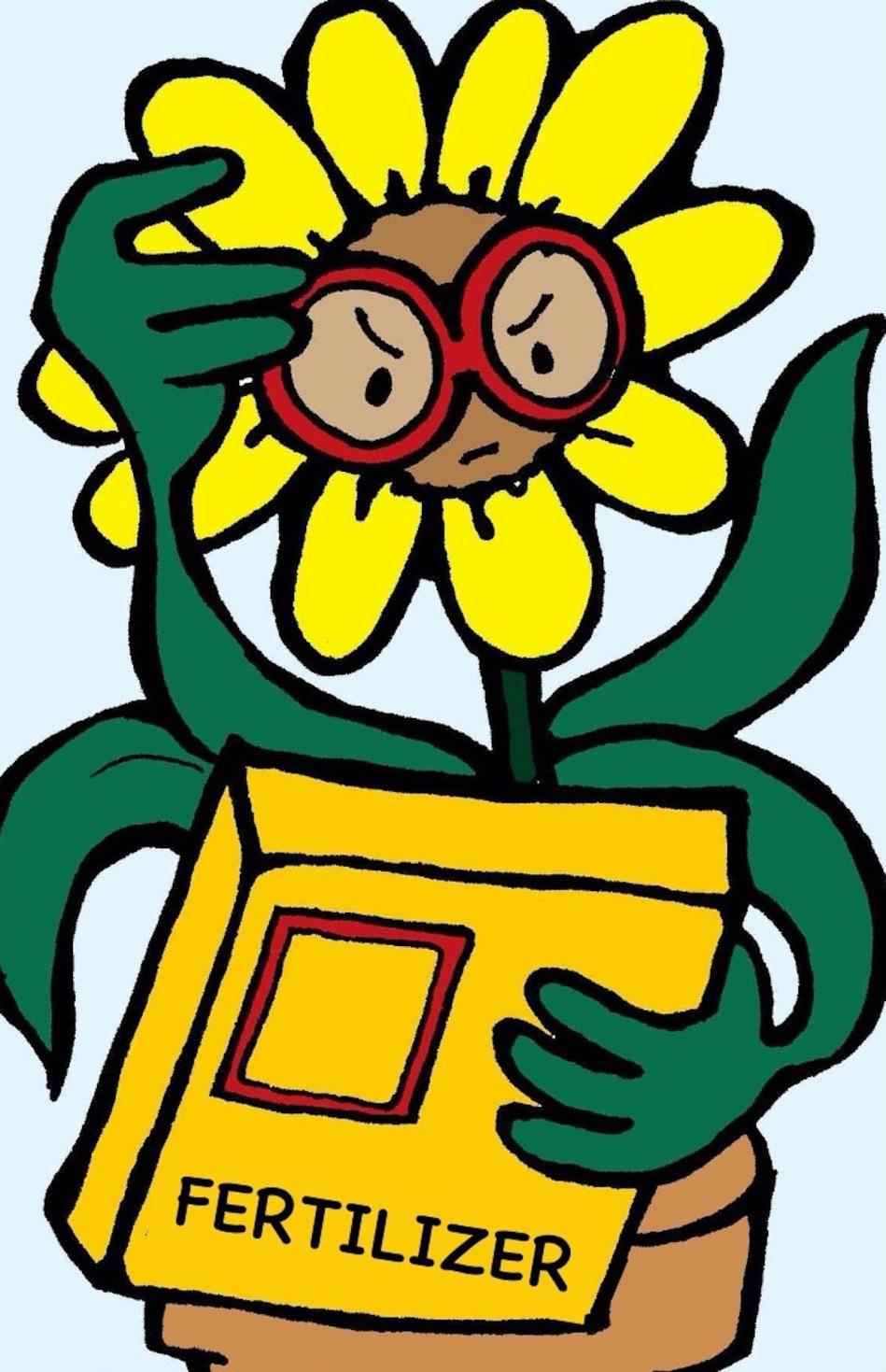 Illustration of plant with glasses reading fertilizer label.