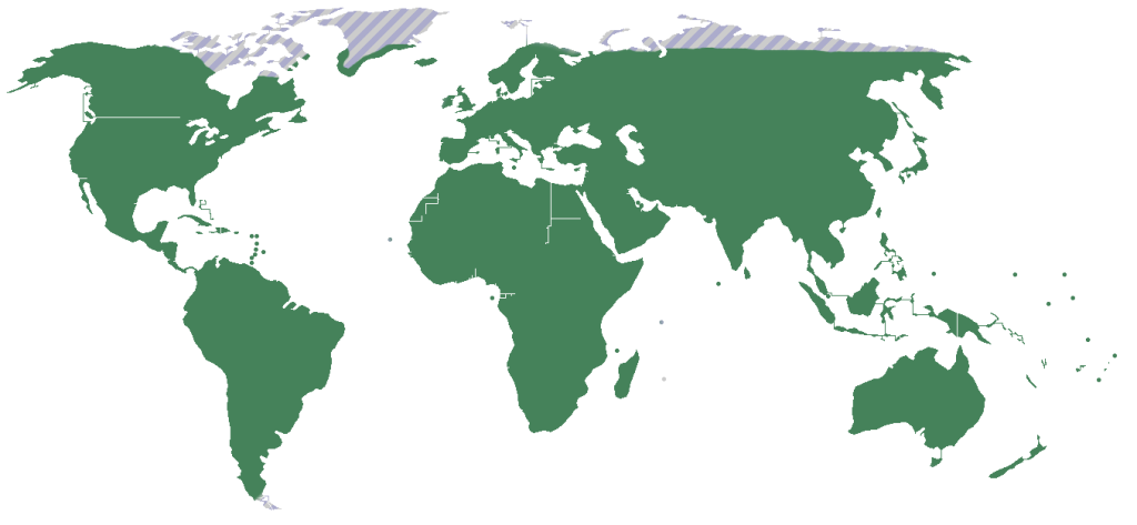 Map showing world distribution of orchids.