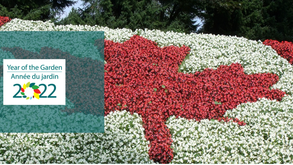 Mosaiculture garden showing Canada's flag in flowers with a mention of Year of the Garden 2022.