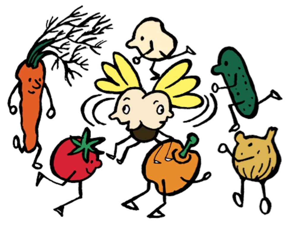 Illustration showing vegetables rotating around a confused insect.