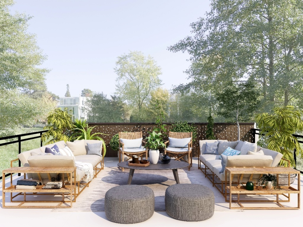 Outdoor dining and entertainment area with rattan furniture.