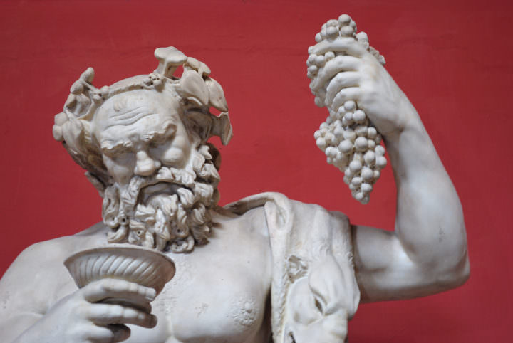 Sculpture of Dionysus wearing a wreath of ivy.