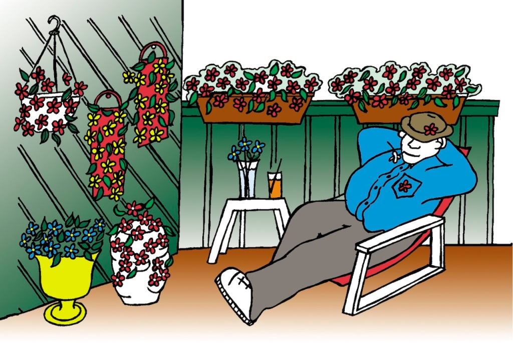 Relaxing on a deck with container gardens.
