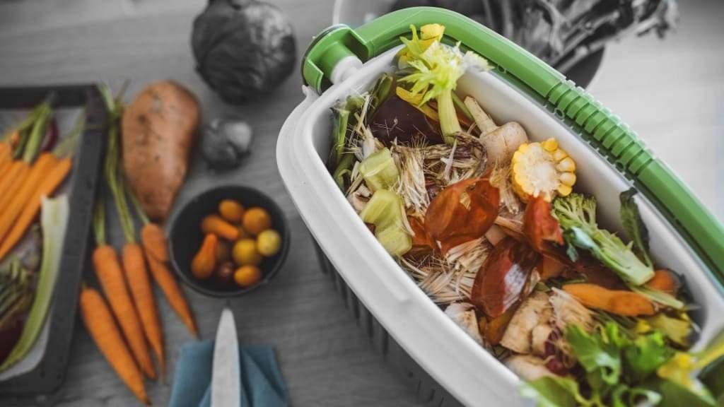 Indoor bin for storing kitchen scraps in view of composting.