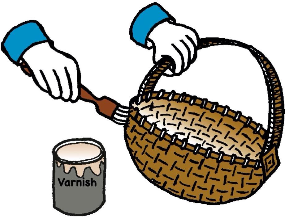 Applying varnish to a wicker basket.