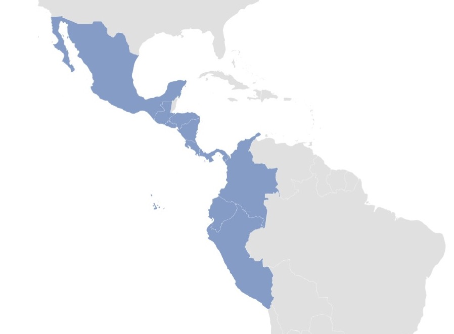 Map showing distribution of echeverias in the wild.