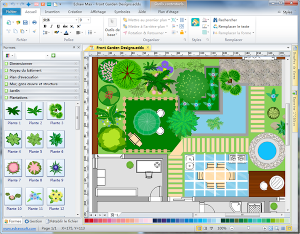 Landscaping plan designed by software.