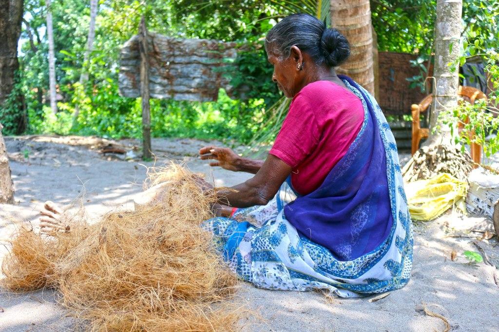 Sri Lankan woman preparing coir.