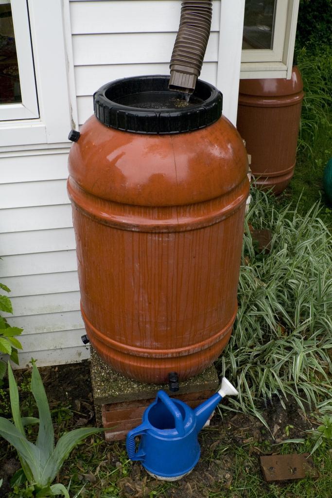 Rain barrel in a rain storm
