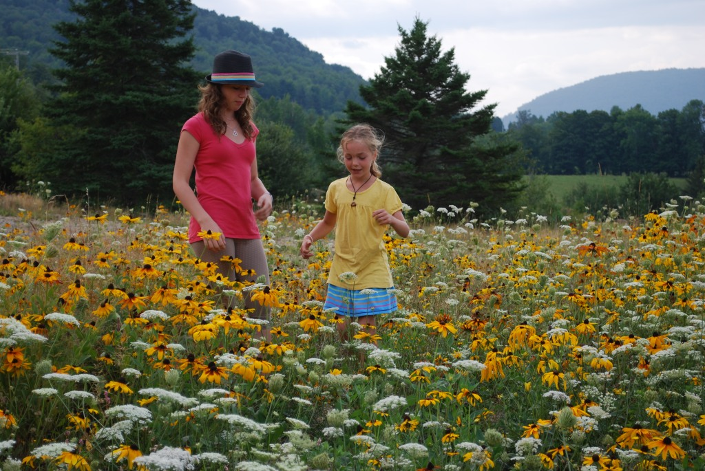 Two young girls in a wildflower meadow.